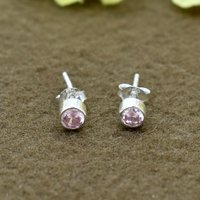 Beautiful Pink Color Zircon Round Gemstone 925 Sterling Silver Post Stud Earring