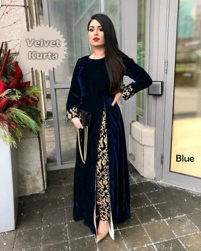 Velvet Kurta with Jacquard Silk Pent Set