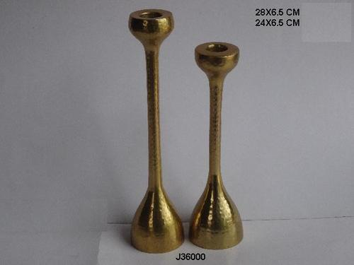 Aluminum Candle Stick Holder With Brass Finish