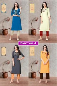 Pant Vol 4 Rayon, Cotton Flex Kurtis Pant