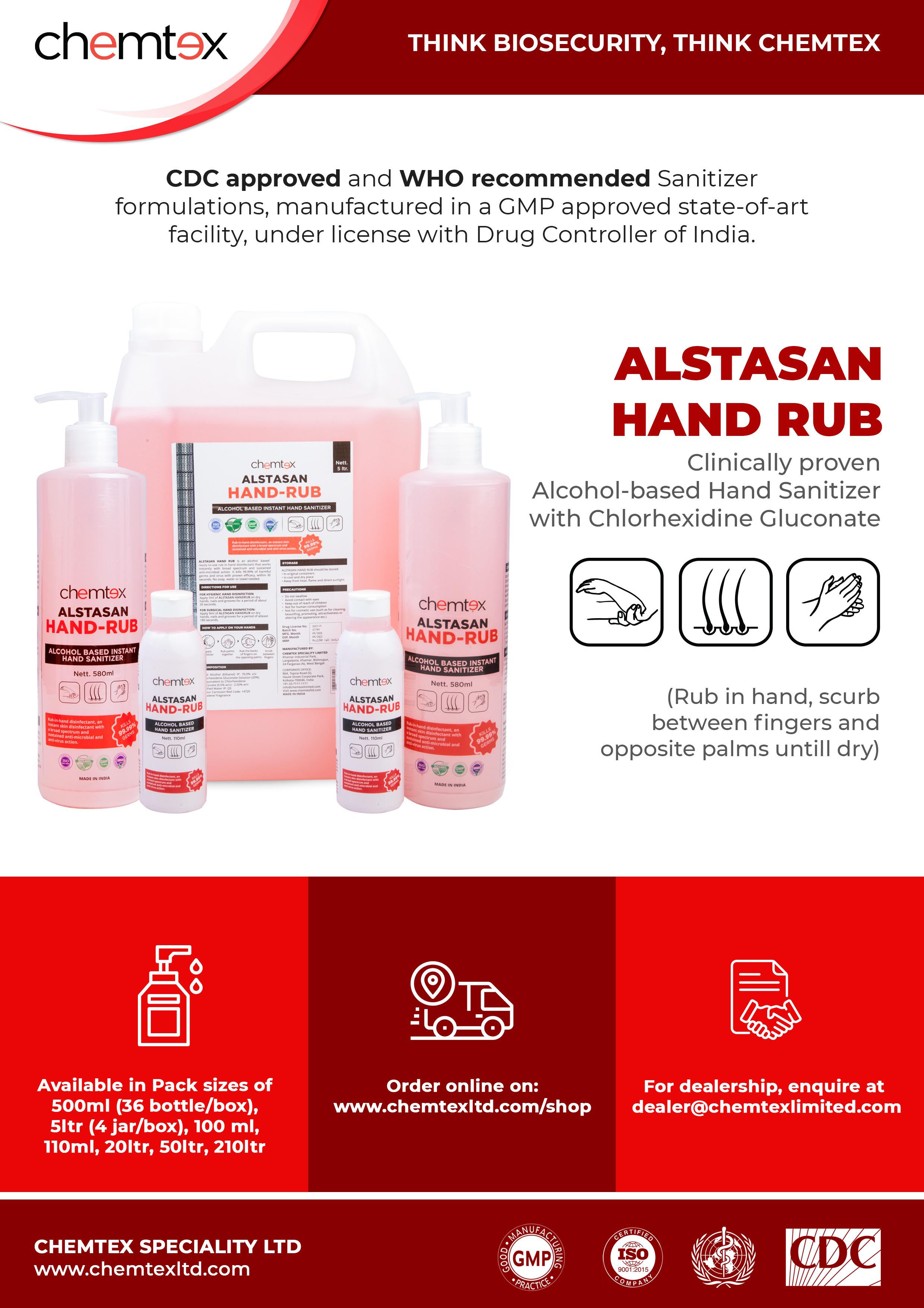 ALSTASAN HAND RUB: Alcohol based Hand Sanitizer