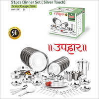 51 Pcs Dinner Set Silver Touch