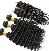Indian Virgin Deep Curly  Human Hair Extensions