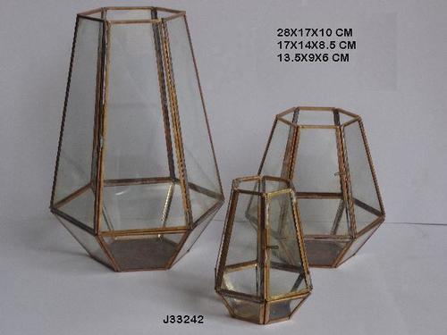 Geometric Metal and Glass Terrarium in Distressed Brass Finish