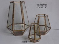 Geometric Metal and Glass Terrarium in Distressed Brass Finish