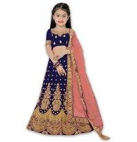 Girls Lehenga Choli Ethnic Wear Embroidered Lehenga, Choli and Dupatta Set  (Blue,06)