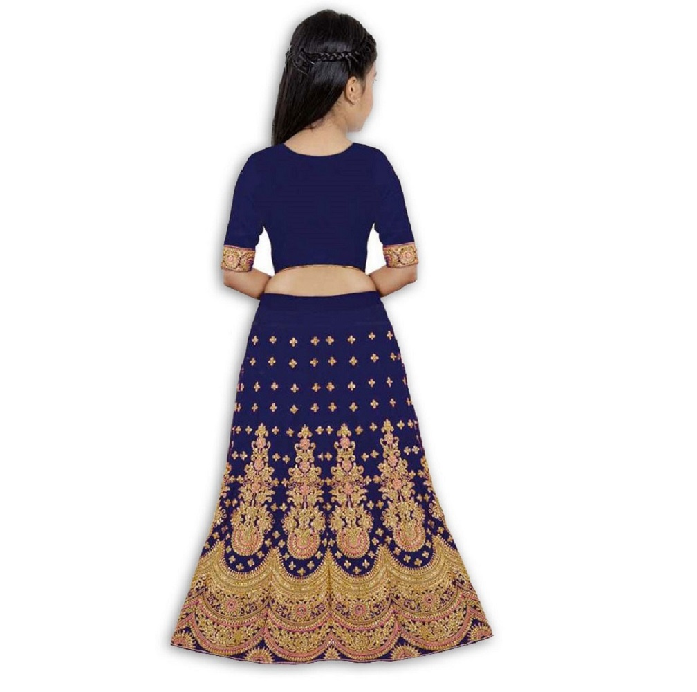 Girls Lehenga Choli Ethnic Wear Embroidered Lehenga, Choli and Dupatta Set  (Blue,06)