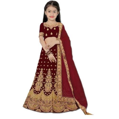 Girls Lehenga Choli Ethnic Wear Embroidered Lehenga, Choli And Dupatta Set  (Maroon,07)
