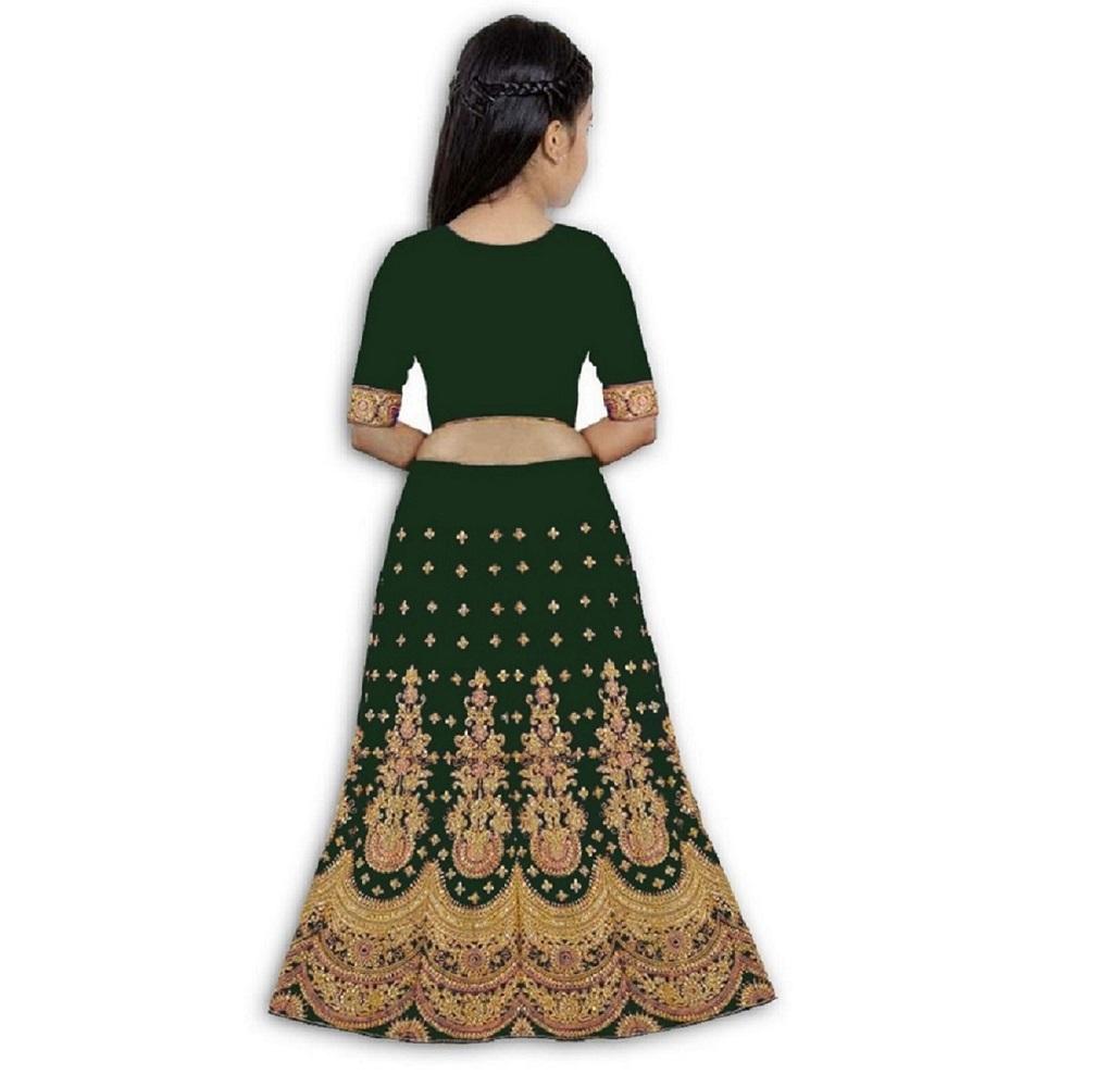 Girls Lehenga Choli Ethnic Wear Embroidered Lehenga, Choli And Dupatta Set  (Green,08)