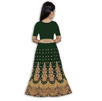 Girls Lehenga Choli Ethnic Wear Embroidered Lehenga, Choli And Dupatta Set  (Green,08)