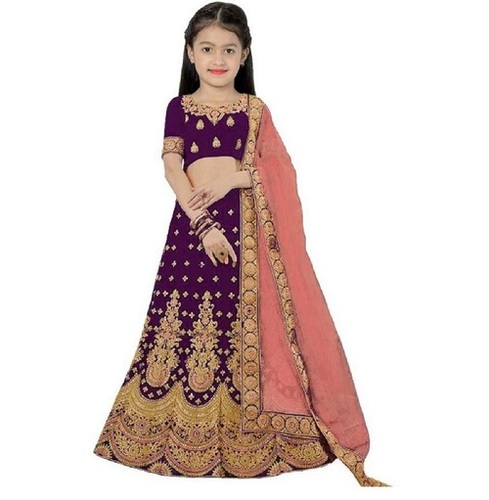 Girls Lehenga Choli Ethnic Wear Embroidered Lehenga, Choli And Dupatta Set  (Purple,09)