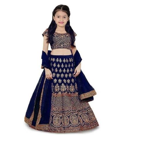 Girls Lehenga Choli Ethnic Wear Embroidered Lehenga, Choli And Dupatta Set  (Blue,10)