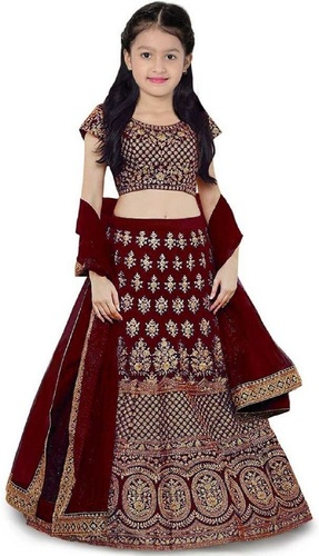 Girls Lehenga Choli Ethnic Wear Embroidered Lehenga, Choli And Dupatta Set  (Maroon,11)