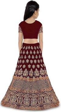 Girls Lehenga Choli Ethnic Wear Embroidered Lehenga, Choli And Dupatta Set  (Maroon,11)
