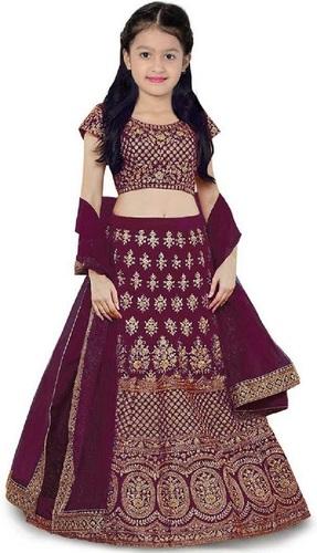 Girls Lehenga Choli Ethnic Wear Embroidered Lehenga, Choli And Dupatta Set  (Purple,12)