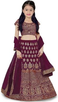 Girls Lehenga Choli Ethnic Wear Embroidered Lehenga, Choli And Dupatta Set  (Purple,12)
