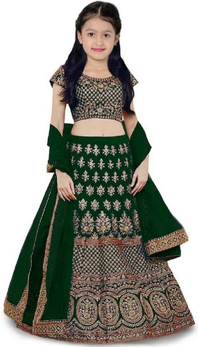 Girls Lehenga Choli Ethnic Wear Embroidered Lehenga, Choli and Dupatta Set  (Green,13)