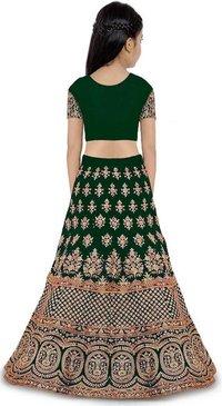 Girls Lehenga Choli Ethnic Wear Embroidered Lehenga, Choli and Dupatta Set  (Green,13)