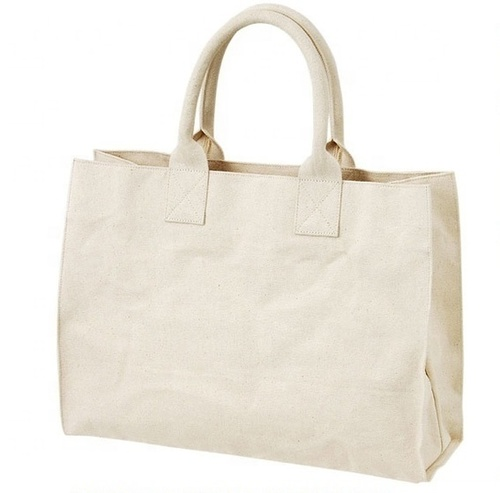 Natural Canvas Tote Bag With Padded Rope Handle