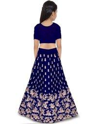 Girls Lehenga Choli Ethnic Wear Embroidered Lehenga, Choli And Dupatta Set  (Blue,14)