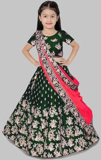 Girls Lehenga Choli Ethnic Wear Embroidered Lehenga, Choli And Dupatta Set  (Green,15)