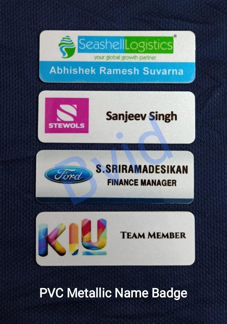PVC Metallic Name badges