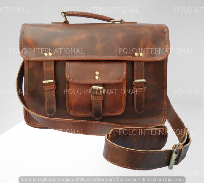Grain Leather Satchel Bag with laptop case