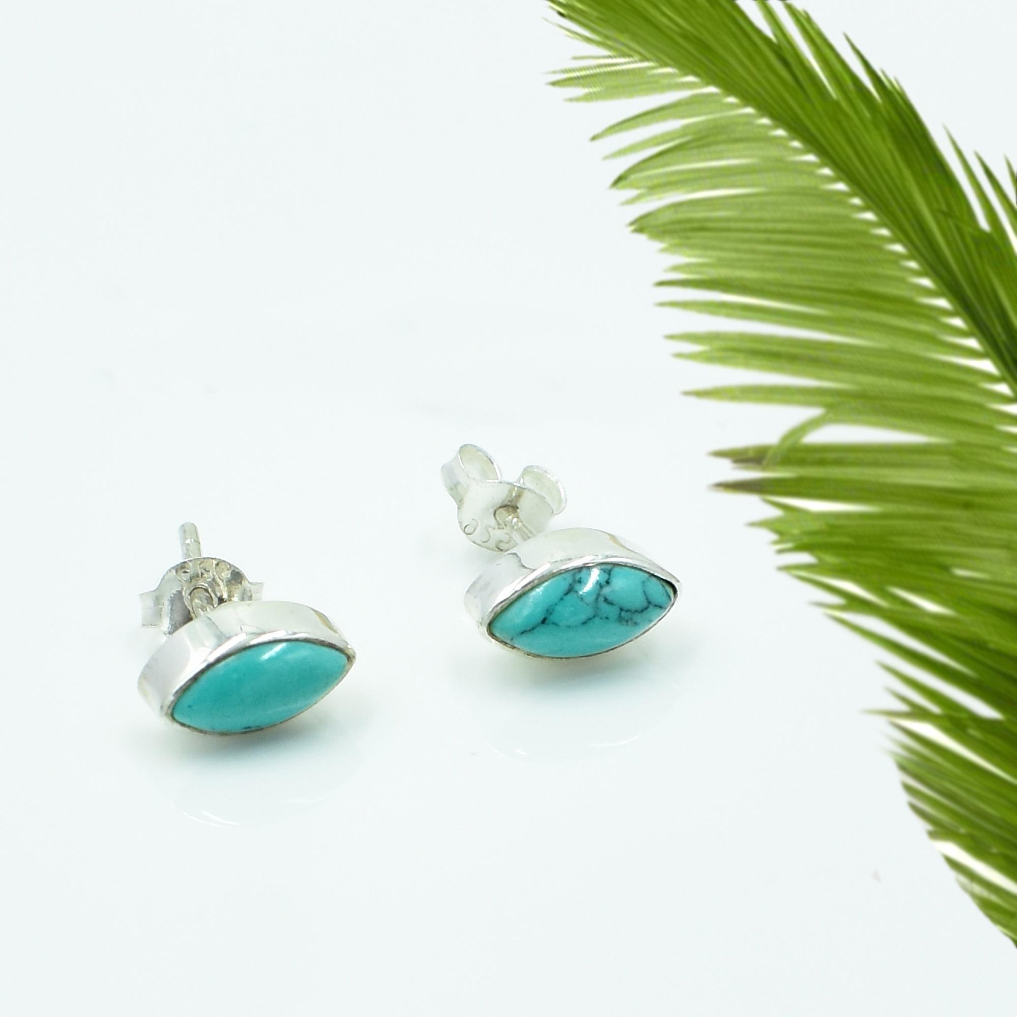 Blue Turquoise Oval Gemstone 925 Sterling Silver Post Stud Earring For women & Girls