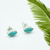 Blue Turquoise Oval Gemstone 925 Sterling Silver Post Stud Earring For women & Girls
