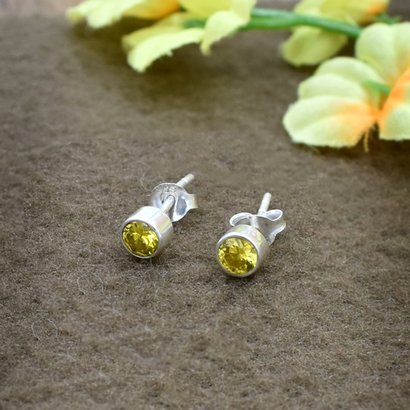 Yellow Color Zircon Gemstone 925 Sterling Silver Post Stud Earring For Women & Girls Weight: 1.1 Grams (G)