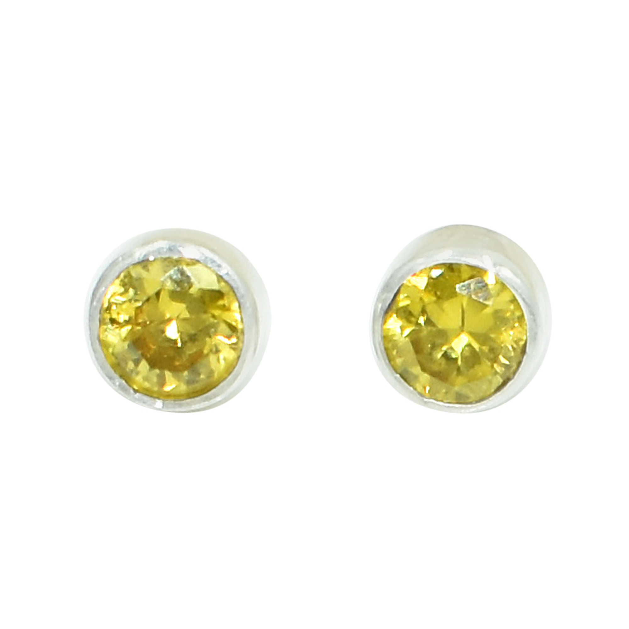 Yellow Color Zircon Gemstone 925 Sterling Silver Post Stud Earring For women & Girls