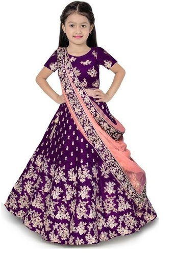 Girls Lehenga Choli Ethnic Wear Embroidered Lehenga, Choli And Dupatta Set  (Purple,16)
