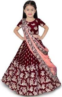 Girls Lehenga Choli Ethnic Wear Embroidered Lehenga, Choli And Dupatta Set  (Maroon,17)