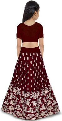 Girls Lehenga Choli Ethnic Wear Embroidered Lehenga, Choli And Dupatta Set  (Maroon,17)