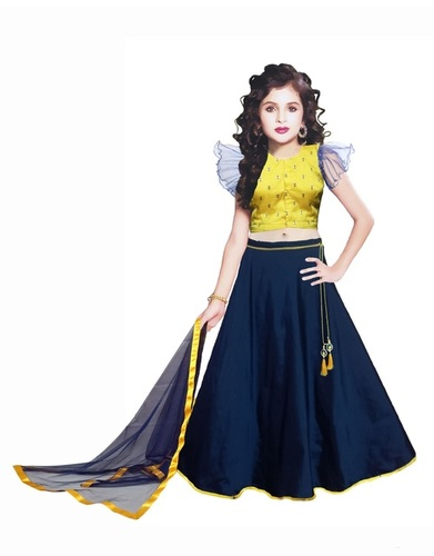 Girls Lehenga Choli Ethnic Wear Embroidered Lehenga, Choli and Dupatta Set  (Blue,18)