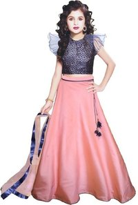 Girls Lehenga Choli Ethnic Wear Embroidered Lehenga, Choli and Dupatta Set  (Pink.19)