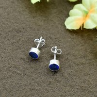 Blue Sapphire Quartz Round Gemstone 925 Sterling Silver Post Stud Earring For women & Girls