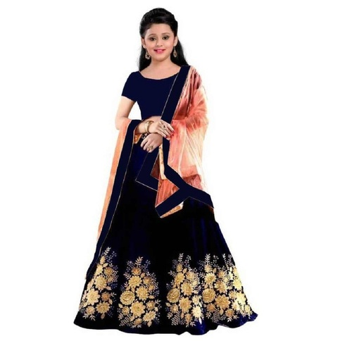 Girls Lehenga Choli Ethnic Wear Embroidered Lehenga, Choli And Dupatta Set  (Blue,20)