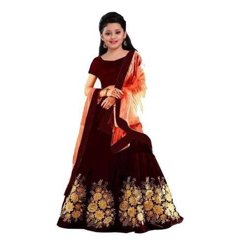 Girls Lehenga Choli Ethnic Wear Embroidered Lehenga, Choli and Dupatta Set  (Maroon,21)