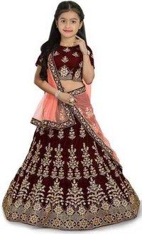 Girls Lehenga Choli Ethnic Wear Embroidered Lehenga, Choli And Dupatta Set  (Maroon,22)