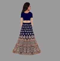 Girls Lehenga Choli Ethnic Wear Embroidered Lehenga, Choli And Dupatta Set  (Blue,23)
