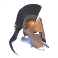 Movie 300 King Leonidas Spartan Helmet - COPPER ANTIQUE 300 SPARTAN HELMET W/BLACK PLUME - MOVIE REPLICA HELMET