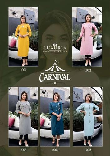 Carnival Premium Rayon Slub Hand Work Kurtis With Heavy Soft Cotton Pants