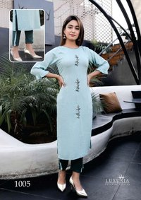 Carnival Premium Rayon Slub Hand Work Kurtis With Heavy Soft Cotton Pants