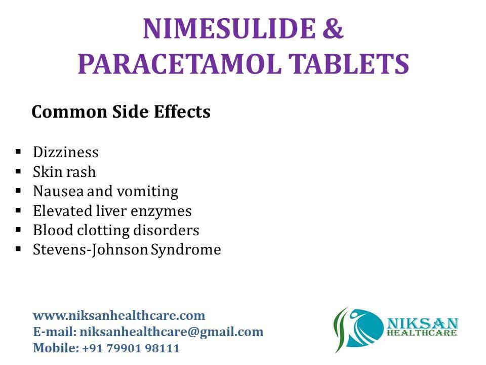 Nimesulide 100 Mg Paracetamol 500 Mg Tablets