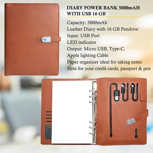 Diary Power Bank 5000mAH with USB 16 GB