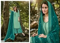 MUKHAR Designer Pure Cotton Satin With Embroidery Dress Material
