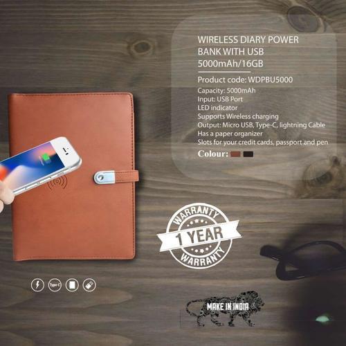 Wireless Diary Power Bank 5000mAH with USB 16 GB