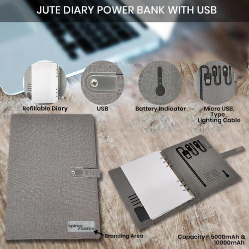 Jute Diary Power Bank 10000mAH with USB 16 GB