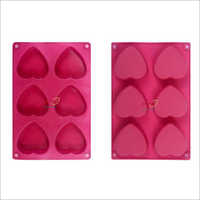 Silicone Rubber Soap Mold 100 gm Heart 6 Cavities